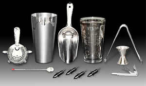 Bar accessories & equipment for bars, home or public, supply for your next party.  Cocktail recipes guides, cocktail shakers, barware, jigger, shooters, bar home kits, bar caddy, martini shakers, condiment trays, bar spoons, bartender guides to mixed drinks, Margarita rimmers, Printed recipe glass shaker, Four-prong strainer, Ice tongs, Ice scoop, stainless bullet shaker set, 1 oz. / 1.5 oz. jigger, Pro corkscrew, bullet shaker set, Bar caddy, Margarita rimmer, Six pint condiment tray, Black drink mat, Box poly drink straws, sword picks, margarita salt, Shooter Set